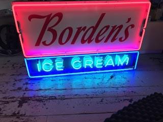 Vintage Borden's Ice Cream neon sign